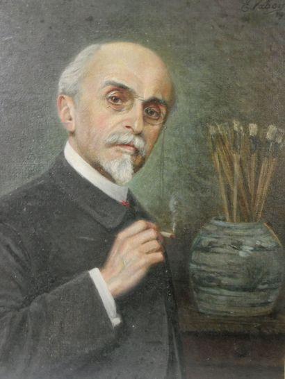 Ernest VABOIS (1833-1925)  Autoportrait  Huile sur toile, signée en haut à droite...
