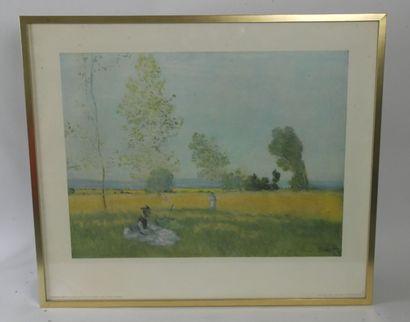 Reproduction de Claude MONET représentant «L'Eté»  Tableau conservé à la National...