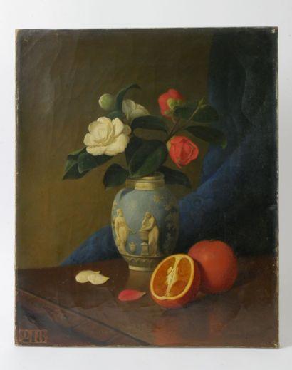 Ernest VABOIS (1833-1925)  Bouquet de camélias...