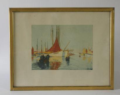 Henri CALLOT (1875-1956)  Les bateaux à l'Ile...
