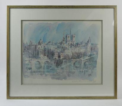 Pierre PAGES (Né en 1933)  Vue de Paris  Lithographie...
