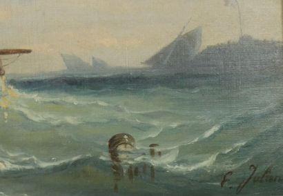 Ecole française de la fin du XIXème siècle  Le retour de pêche  Huile sur toile...