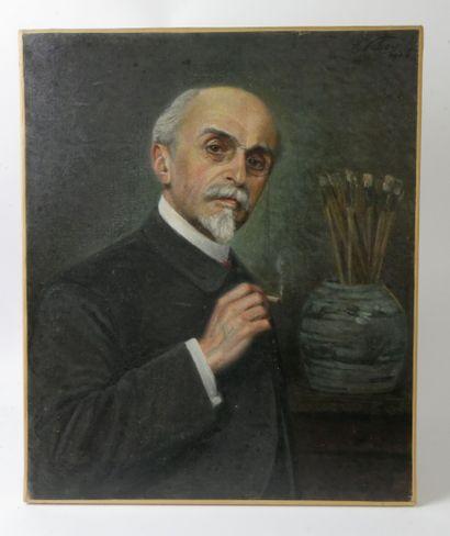 Ernest VABOIS (1833-1925)  Autoportrait  Huile...