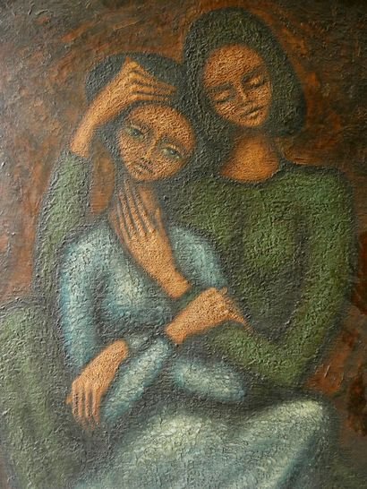 Jean MOULIN (1932-2009)  Tendresse  Huile sur toile, signée «Jean Moulin» et datée...