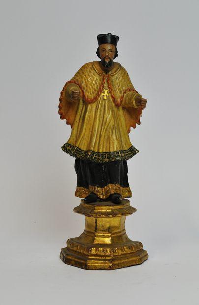 Saint Jean Népomucène en bois sculpté en...