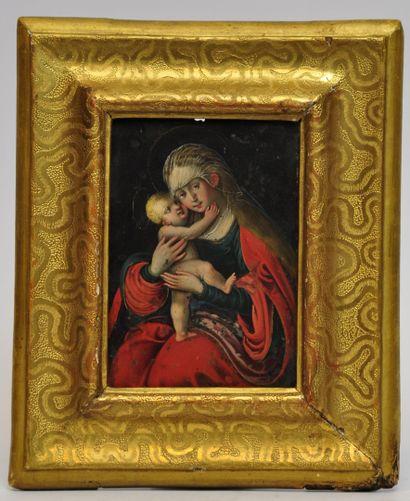 Ecole Allemande vers 1600  Vierge à l'enfant...
