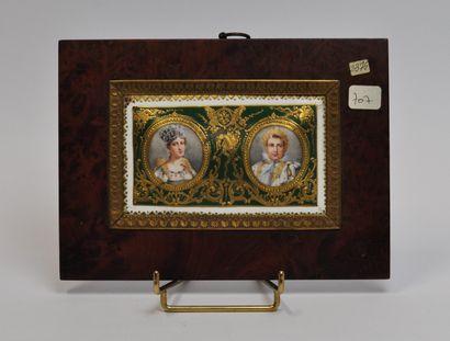 Ecole française du début du XXème siècle  Portrait de Napoléon Ier et de son épouse...