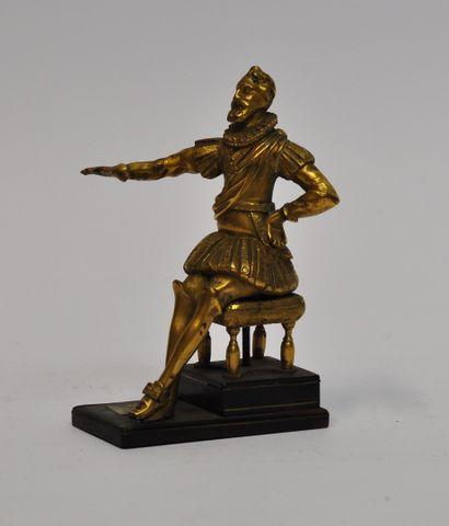 Sculpture en bronze ciselé et doré figurant...
