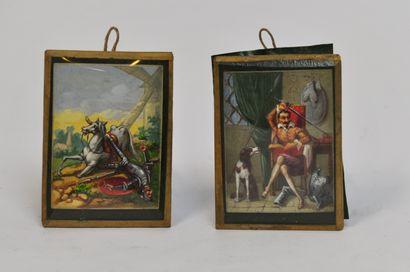 Deux miniatures à l'huile sur papier relatant...