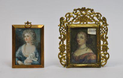 Lot de deux miniatures comprenant :  - Portrait...