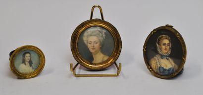 Lot de 3 miniatures dans le goût du XVIIIème...
