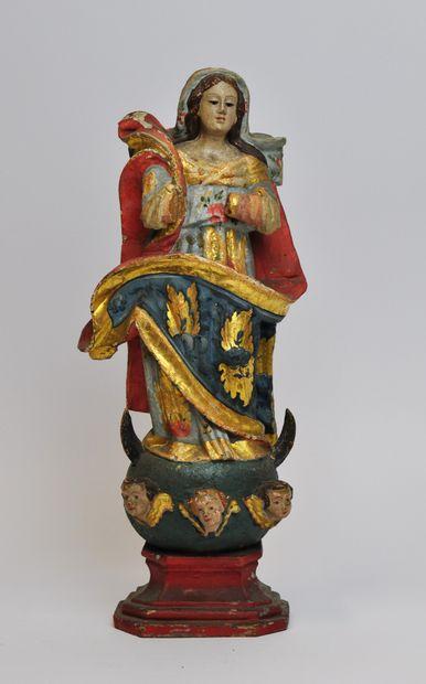 Vierge de l'Assomption en bois sculpté en...
