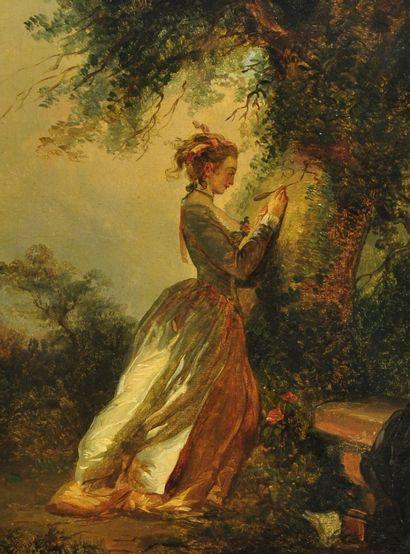 Ecole française du XIXème, suiveur de Fragonard  Le chiffre d'Amour ou Le souvenir...