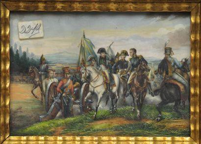 Ecole française de la fin du XIXème siècle  Napoléon Ier sur une scène de campagne...