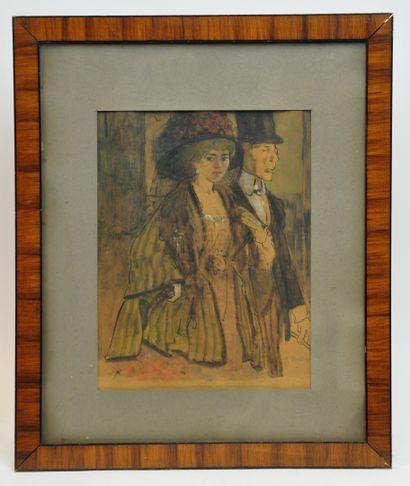 Gustave René PIERRE (1875-1939)  Soirée à...