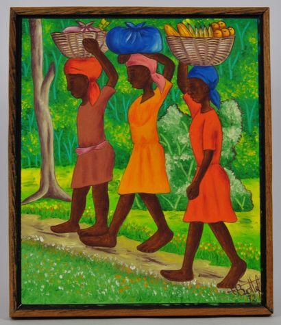 BOTTEF. Ecole Haïtienne du XXème siècle  Scènes de la vie quotidiennes  Huiles sur...