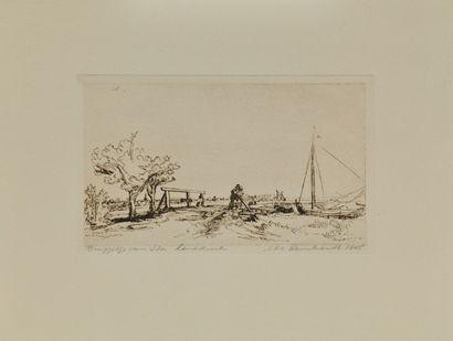 REMBRANDT Van Rijn (1606-1669) d'après  Paysage...