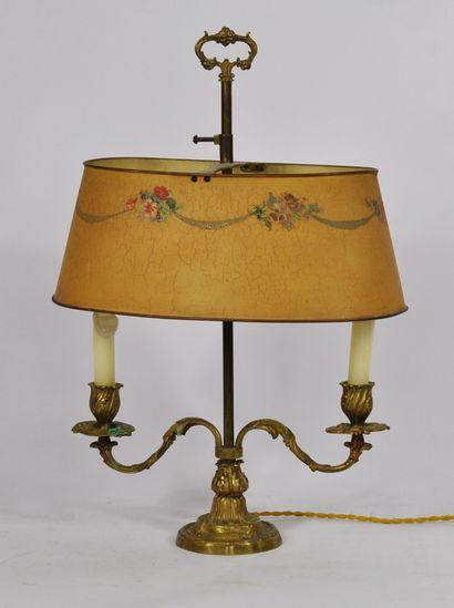 Lampe dite bouillotte en bronze doré à deux...