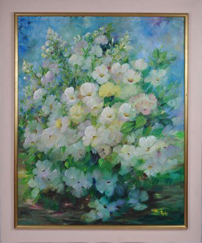 Vincenti USCHI.  Les hibiscus  Huile sur...