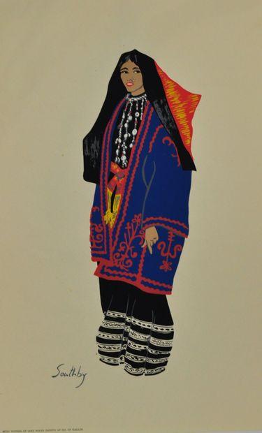 Susan SOUTHBY. Ecole du Moyen-Orient du XXème siècle  6 aquarelles représentant...