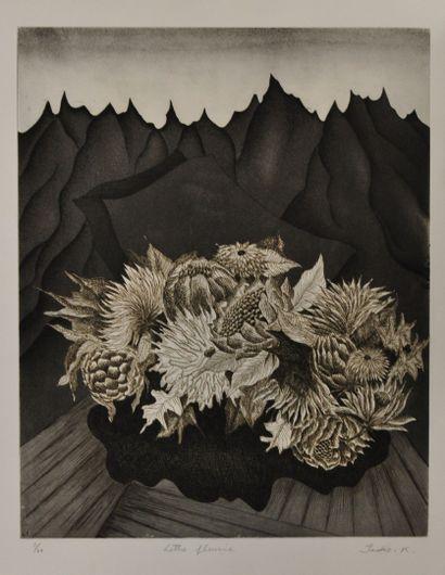 ISOKO KATO  Deux gravures en noir et blanc...