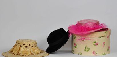 Boite à chapeaux en papier mâché à décor...