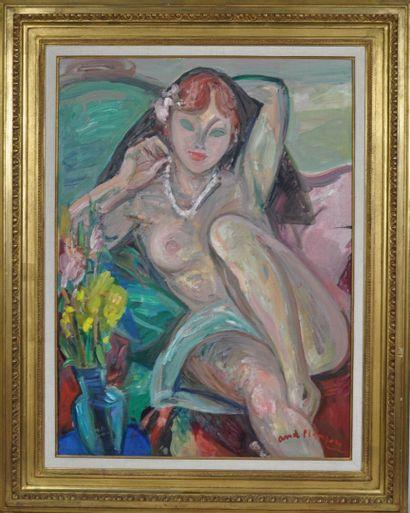 André PLANSON (1898-1981)  Nu au collier...