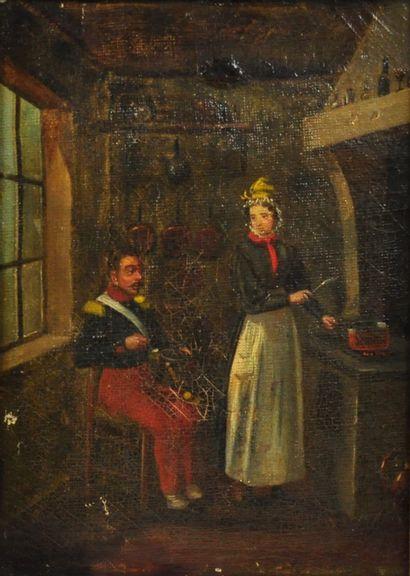 Ecole française, vers 1840  Le retour de l'officier  Huile sur toile  22 x 16cm...