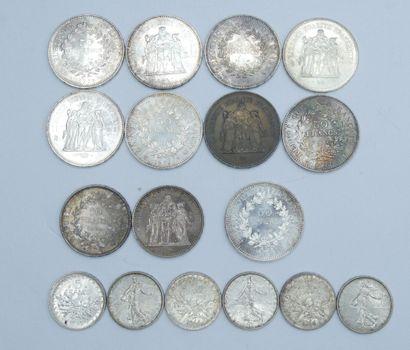 Ensemble de 17 Monnaies France. Argent.  9...