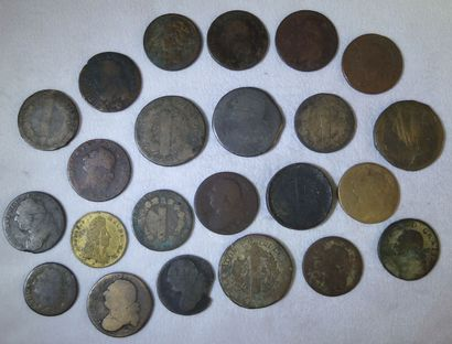 Ensemble de 23 Monnaies Royales.  Louis XVI,...