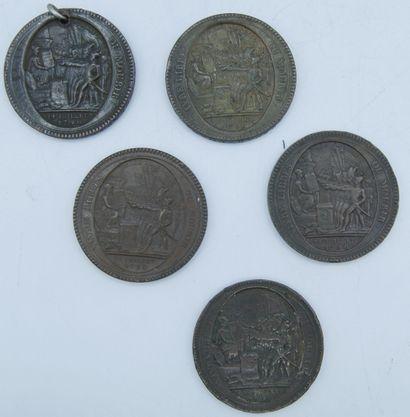 5 Médailles en Bronze.  4-Avers-Vivre Libre...
