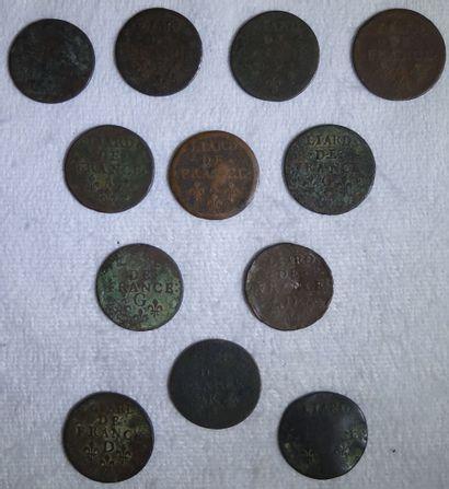 Ensemble de 12 Monnaies. Portant inscription...