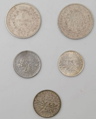 5 Monnaies France. Argent.  2-5 Francs Hercule, 1873 A (Paris) et 1874 K (Bordeaux)....