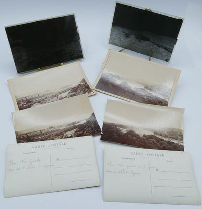 16 PHOTOGRAPHIES : 4 plaques de Verre et...