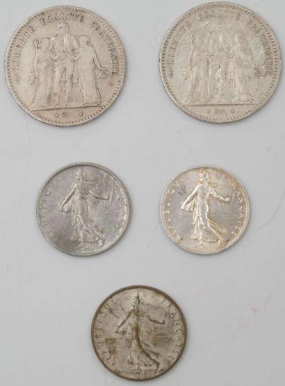 5 Monnaies France. Argent.  2-5 Francs Hercule,...