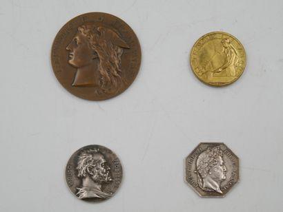 4 Jeton et Médailles. France.  Louis Philippe...