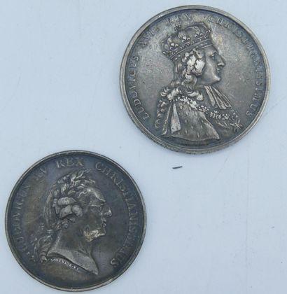 2 Médailles en Argent.  Louis XV dit le Bien...
