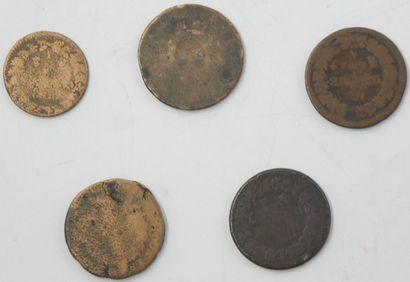 France. Révolution.  5 Monnaies partiellement effacées.  Sol aux Balances 1793,...
