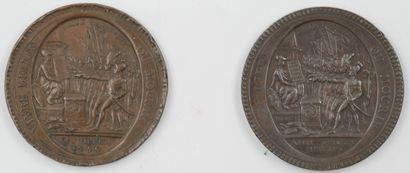 2 Médailles en Bronze.  Avers-Vivre Libre...