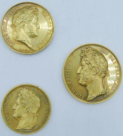 3 Médailles Cuivre doré.  Louis Philippe...