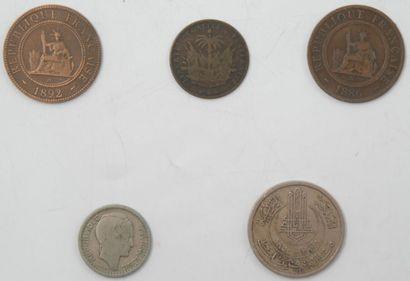 Monnaies. Ensemble de 5 Monnaies Indochine, Tunisie Protectorat Français, Algérie...