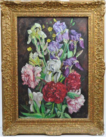 André VIVREL (1886 - 1976)  Bouquet de pivoines...