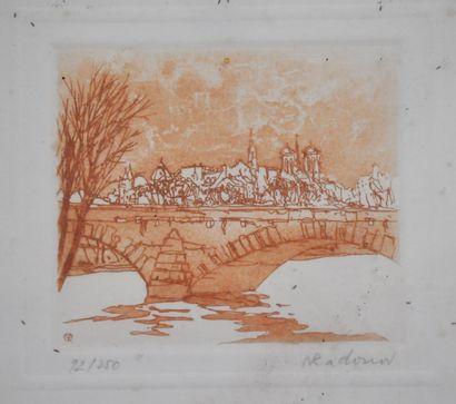 Nicolas RADONOV (1944 -)  L'ile de la Cité  Gravure sur vélin d'arches numérotée...