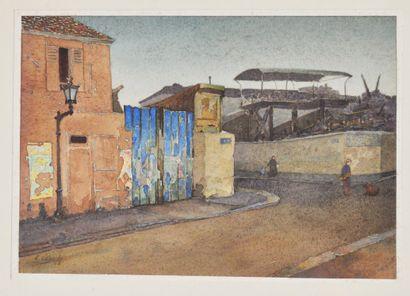Ernest LABORDE (1870-?)  Scène de rue  Aquarelle sur papier signée en bas à gauche...