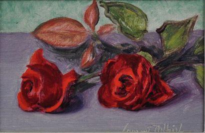 Laurent DELHIEF  Les roses rouges  Huile sur toile signée en bas à droite  16 x...