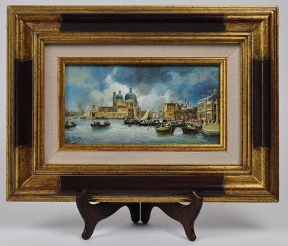 Pierre SAEZ (né en 1955)  Vue de Venise  Huile...