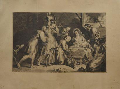 Pierre-Paul RUBENS (1577 - 1640), d'après  Adoration des bergers  Gravure sur papier...