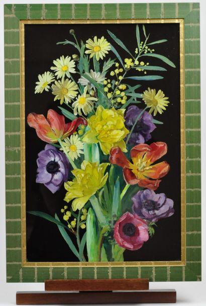 André VIVREL (1886 - 1976)  Tulipes et fleurs des champs  Deux gouaches sur verre...