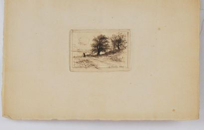 Eugène DELATRE (1864-1938)  Paysage de campagne,...