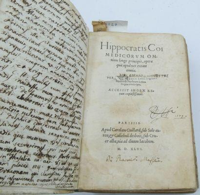 HIPPOCRATE. Hippocratis Coimedicorum omnium longe principis, opera quae apud nos...